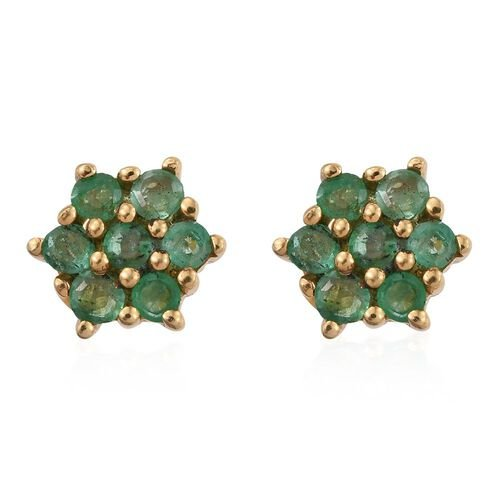 Kagem Zambian Emerald (Rnd) Floral Stud Earrings (with Push Back) in 14K Gold Overlay Sterling Silver 0.500 Ct.