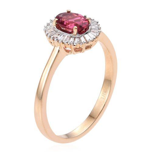 ILIANA 18K Y Gold Ouro Fino Rubelite (Ovl 0.80 Ct), Diamond Ring 1.200 Ct.