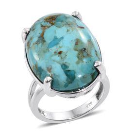 Arizona Matrix Turquoise (Ovl) Ring in Platinum Overlay Sterling Silver 19.000 Ct.