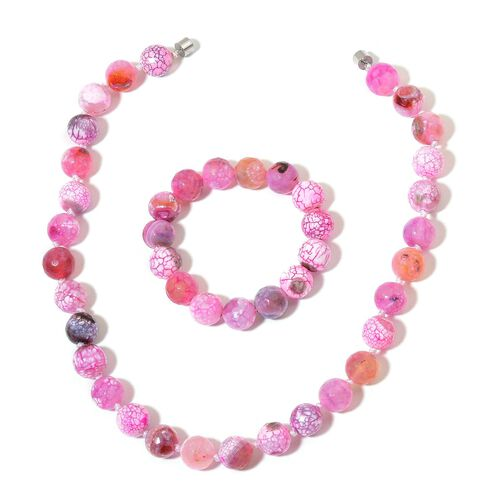 Rare Size Pink Agate Beads Necklace (Size 18) with Magnetic Clasp and Stretchable Bracelet (Size 6.50) in Silver Tone 745.000 Ct.