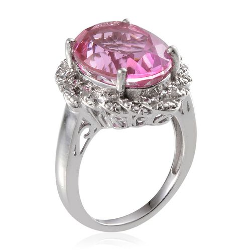 Kunzite Colour Quartz (Ovl 10.00 Ct), Diamond Ring in Platinum Overlay Sterling Silver 10.060 Ct.