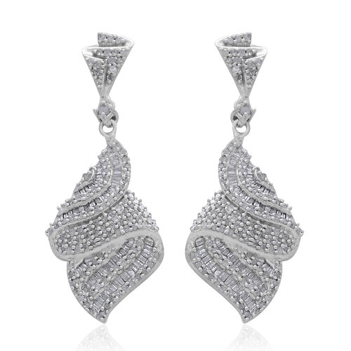 Diamond (Rnd and Bgt) Earrings (with Push Back) in Platinum Overlay Sterling Silver 1.500 Ct.