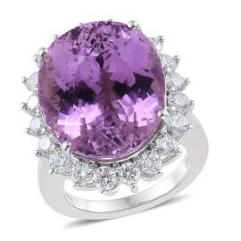 ILIANA 18K W Gold AAAA Kunzite (Ovl 31.89 Ct), Diamond (Rnd 2.11 Ct.) (SI/G-H) Ring 34.000 Ct. Gold Wt 13.00 Gms