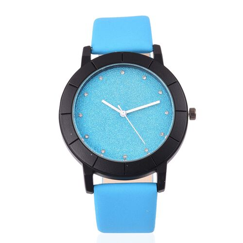 STRADA Japanese Movement Turquoise Blue Strardust Dial Watch with White Austrian Crystal in Black Tone with Stainless Steel Back