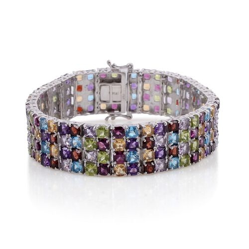 Hebei Peridot (Cush), Electric Swiss Blue Topaz, Garnet, Citrine, Zambian Amethyst and Rose De France Amethyst Rainbow Bracelet in Platinum Overlay Sterling Silver (Size 8) 53.000 Ct.