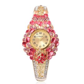 STRADA Japanese Movement Multi Colour Austrian Crystal Red Oil Painted Peacock and Floral Design Bangle Watch in Yellow Gold Tone
