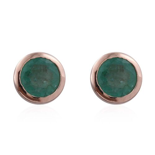 Zambian Emerald 1 Carat Solitaire Stud Earrings  in Rose Gold Overlay Sterling Silver