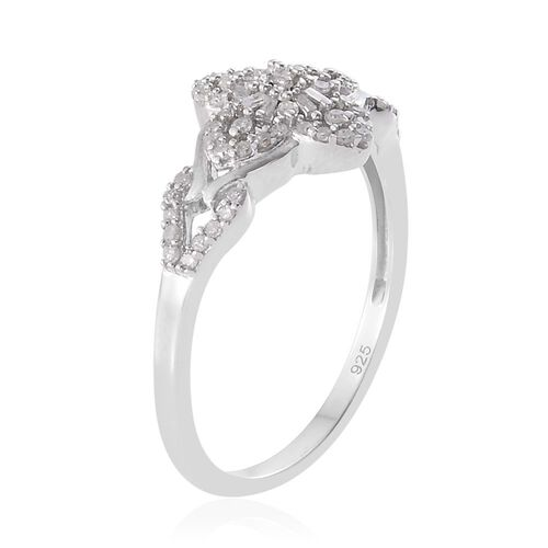 Diamond (Rnd) Floral Ring in Platinum Overlay Sterling Silver 0.330 Ct.