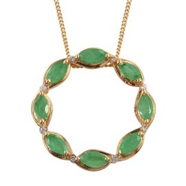 Kagem Zambian Emerald (Mrq), Natural Cambodian Zircon Circle of Life Pendant with Chain in 14K Gold Overlay Sterling Silver 1.000 Ct.