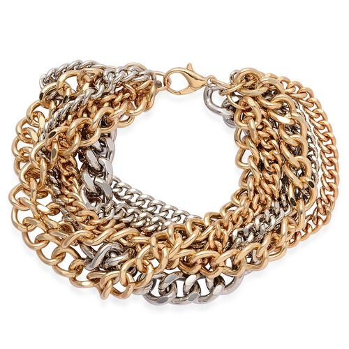 Multi Strand Curb Bracelet (Size 7.5) in Silver and Gold Tone