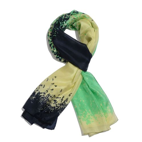 100% Mulberry Silk Green, Lemon and Multi Colour Abstract Pattern Scarf (Size 180x100 Cm)