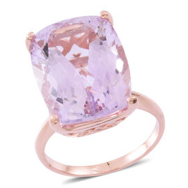 Limited Edition- Rare Size AAA Rose De France Amethyst (Cush 20X15) Ring in Rose Gold Overlay Sterling Silver 19.000 Ct. Silver wt 5.60 Gms.
