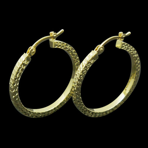 9K Y Gold Hoop Earrings (with Clasp) Gold weight 1.60 Gram