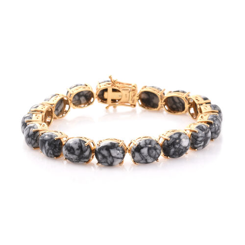 Austrian Pinolith (Ovl) Bracelet (Size 7.75) in 14K Gold Overlay Sterling Silver 67.000 Ct.