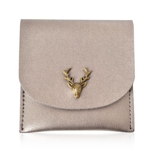Reindeer Head Embellished Golden Colour Gifting Wallet, Alternative Christmas Cracker (Size 10X10 Cm)