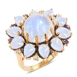 Sri Lankan Rainbow Moonstone (Rnd 10.40 Ct), Amethyst, Rhodolite Garnet and Multi Gemstone Floral Ring in Blue and 14K Gold Overlay Sterling Silver 20.000 Ct. Silver wt 8.70 Gms