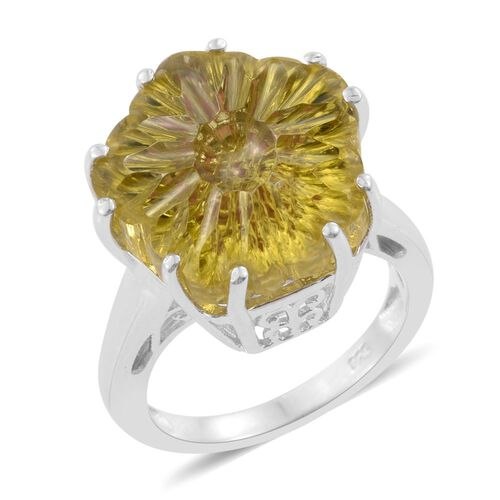 Premium Laser Cut Brazilian Green Gold Quartz Ring in Platinum Overlay Sterling Silver 10.000 Ct.