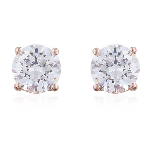 Set of 3 - J Francis - Rose Gold Overlay Sterling Silver (Rnd, Sqr and Trl) Stud Earrings (with Push Back) Made with SWAROVSKI ZIRCONIA
