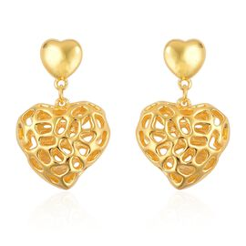 RACHEL GALLEY Yellow Gold Overlay Sterling Silver Amore Heart Earrings (with Push Back), Silver wt 6.53 Gms.
