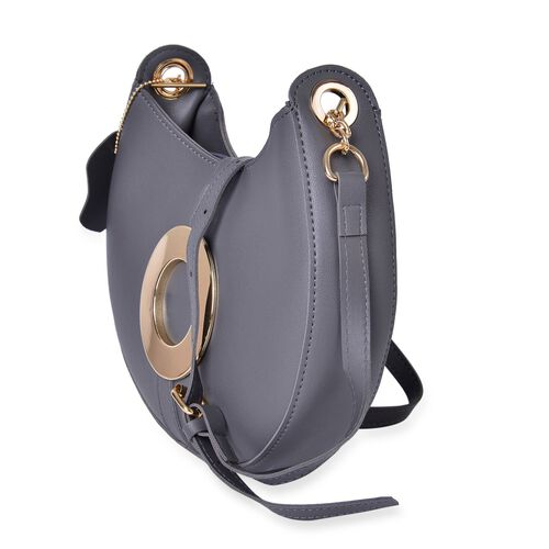 Grey Colour Crescent Moon Shaped Crossbody Bag with Adjustable and Removable Shoulder Strap (Size 24X18X5 Cm)