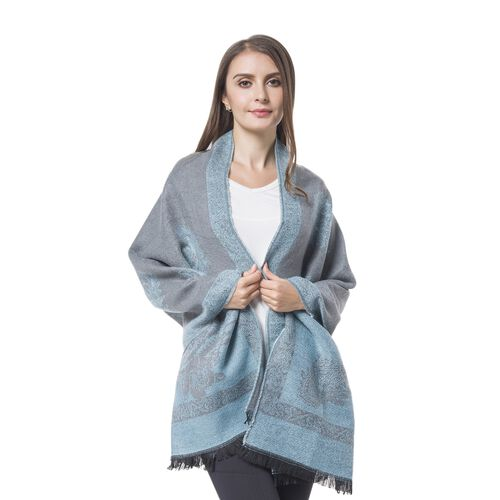 Designer Inspired-Grey and Blue Colour Paisley and Floral Pattern Blanket Scarf with Tassels (Size 180x67 Cm)