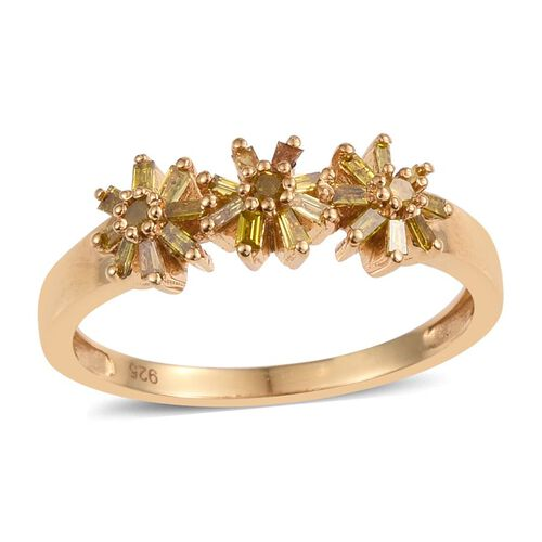 Very Rare Yellow Diamond (Rnd) Triple Floral Ring in 14K Gold Overlay Sterling Silver 0.340 Ct.