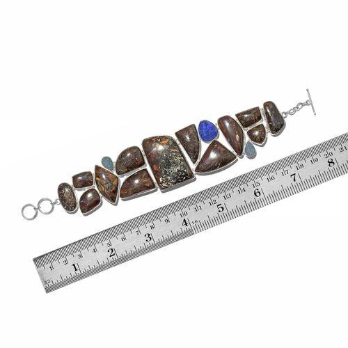 Australian Boulder Opal Rock and Opal Double Bracelet (Size 8) in Sterling Silver 240.750 Ct.