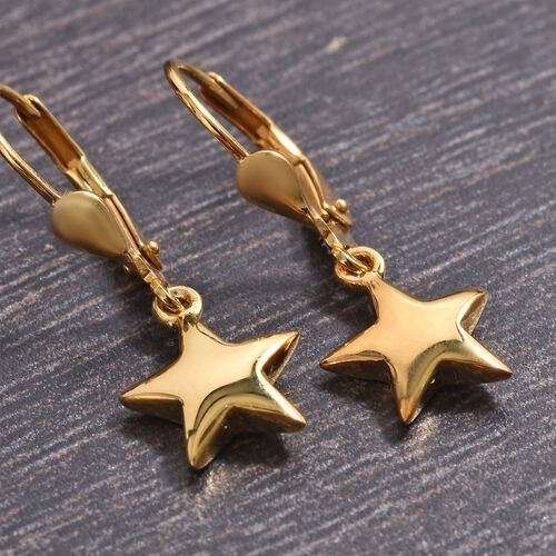 Star Silver Lever Back Earrings in Gold Overlay, Silver Wt 2.67 gms
