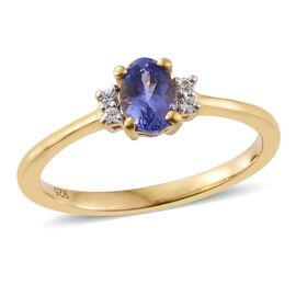 Tanzanite, Natural Cambodian Zircon 0.65 Ct Silver Ring in Gold Overlay