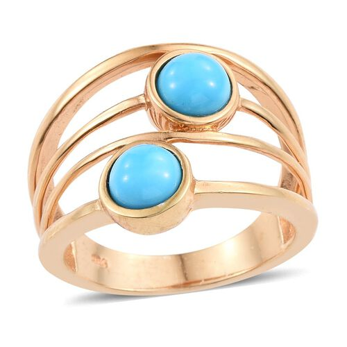 Arizona Sleeping Beauty Turquoise (Rnd) Ring in 14K Gold Overlay Sterling Silver 1.250 Ct.