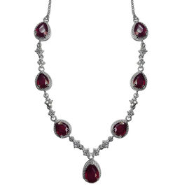 AAA African Ruby (Pear), White Zircon Necklace (Size 18) in Rhodium Plated Sterling Silver 17.000 Ct.Silver Wt 15.00 Gms
