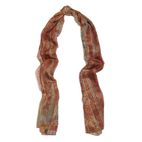 100% Mulberry Silk Maroon, Green and Multi Colour Paisley and Stripes Hand Screen Printed Scarf (Size 180X100 Cm)