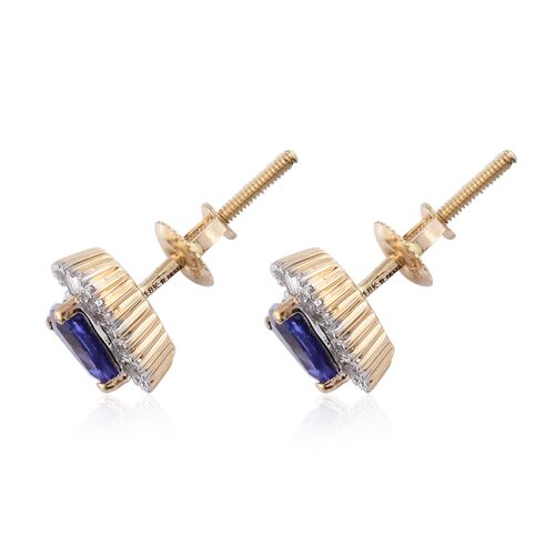 ILIANA 18K Yellow Gold AAA Tanzanite (Trl), Diamond (SI/G-H) Stud Earrings (with Screw Back) 1.150 Ct.