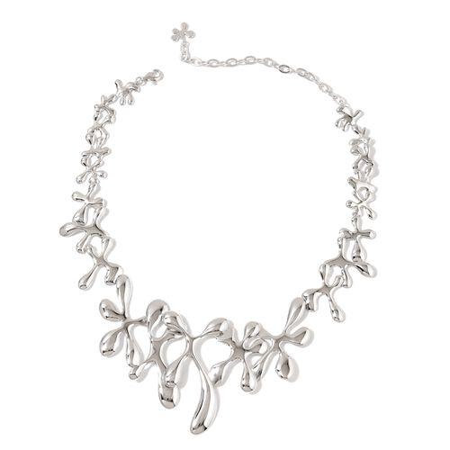 LucyQ Splat Necklace (Size 15.5 with 3 inch Extender) in Rhodium Plated Sterling Silver 78.00 Gms.