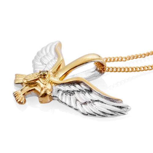 Yellow Diamond (Rnd) Bird Pendant With Chain in Platinum and Yellow Gold Overlay Sterling Silver