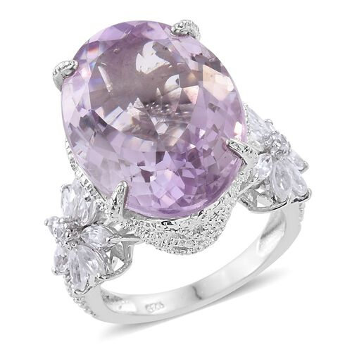 AAA Rose De France Amethyst (Ovl 15.00 Ct), Natural Cambodian Zircon Ring in Platinum Overlay Sterling Silver 17.000 Ct. Silver wt 6.17 Gms.