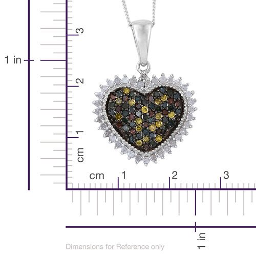 Natural Champagne Diamond (Rnd), Green Diamond, Blue Diamond, Yellow Diamond and White Diamond Cluster Heart Pendant With Chain in Platinum Overlay Sterling Silver 1.000 Ct.