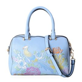 New For Season - Blue, Golden and Multi Colour Bird and Flowers Embossed Tote Bag with External Zipper Pocket and Removable Shoulder Strap (Size 28x22x16 Cm)
