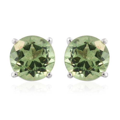 Green Colour Quartz (Rnd) Stud Earrings (with Push Back) in Sterling Silver 4.750 Ct.