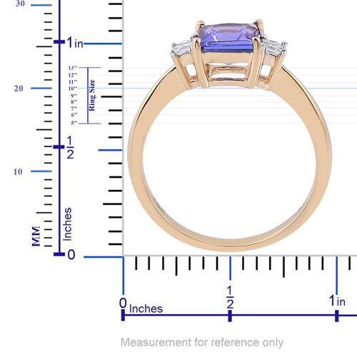 ILIANA 18K Y Gold AAA Tanzanite (Sqr 1.00 Ct), Diamond Ring 1.150 Ct.