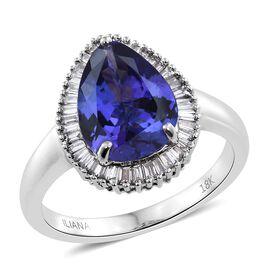 ILIANA 18K White Gold 3.75 Ct AAA Tanzanite Halo Ring with Diamond SI G-H