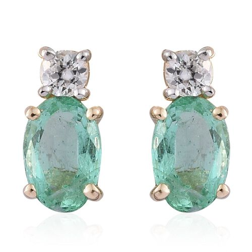 9K Yellow Gold 0.93 Ct AA Boyaca Colombian Emerald Stud Earrings (with Push Back) with Natural Cambodian Zircon