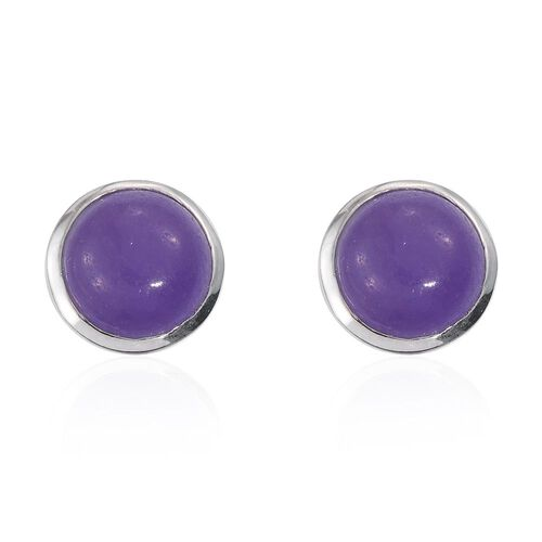 Purple Jade (Rnd) Stud Earrings (with Push Back) in Platinum Overlay Sterling Silver 9.000 Ct.