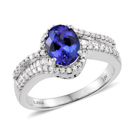 ILIANA 18K White Gold AAA Tanzanite (Ovl 1.75 Ct), Diamond (SI/G-H) Ring 2.150 Ct. Gold wt. 7.41 Gms.