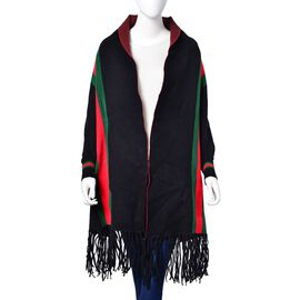 Designer Inspired - Black, Red and Green Colour Stripe Pattern Longer Line Reversible Kimono with Tassels (Free Size)