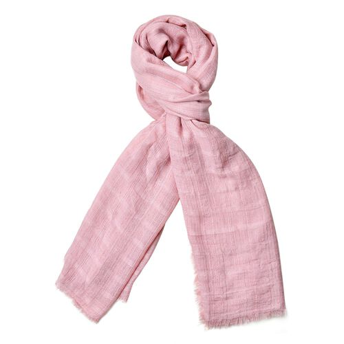 Italian Close Out Deal - Pink Colour Stripes Pattern Scarf with Fringes (Size 184X93 Cm)