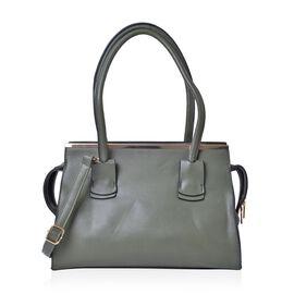 Dark Green Golden T-Bar Tote Bag with Adjustable Shoulder Strap (Size 36X35X26X10 Cm)