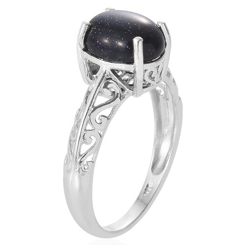 Blue Sandstone (Ovl) Solitaire Ring in Platinum Overlay Sterling Silver 3.500 Ct.