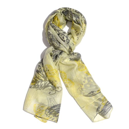 100% Mulberry Silk Green and Multi Colour Butterfly Printed Yellow Colour Scarf (Size 180x100 Cm)