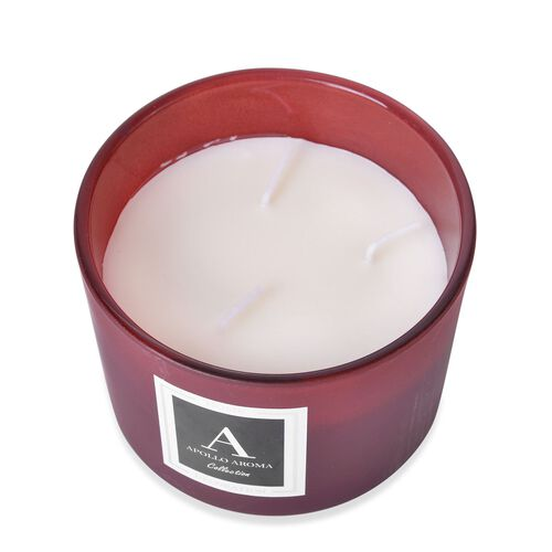 Home Decor - Verbena Fragrance Aromatic Candle in Maroon Colour Glass Container (Size 10X8 Cm)